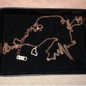 K18 Jeulia Heartbeat Gold Necklace